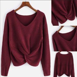 Sweaters - 💕💕Burgundy twist knot sweater⭐️